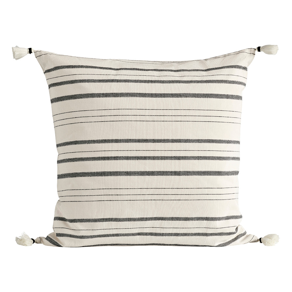 Black Striped Tassel Cushion