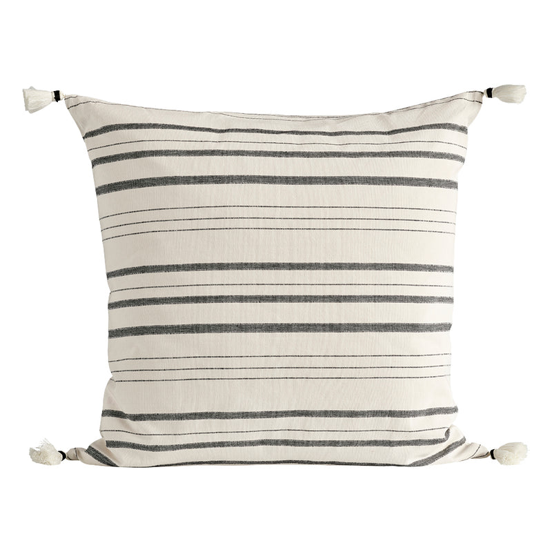Black Striped Tassel Cushion | Design Vintage