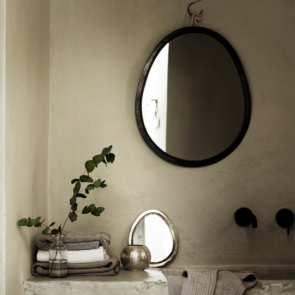 Oxidised Brass Egg Mirrors | Design Vintage