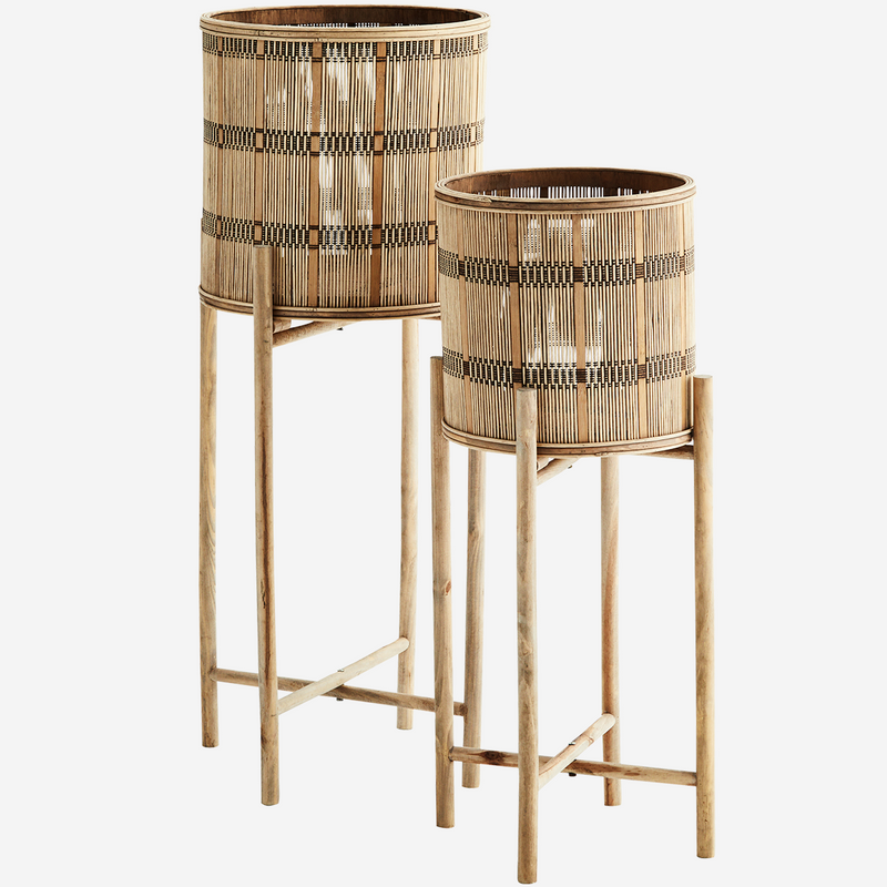 Set of Bamboo Plant Stands