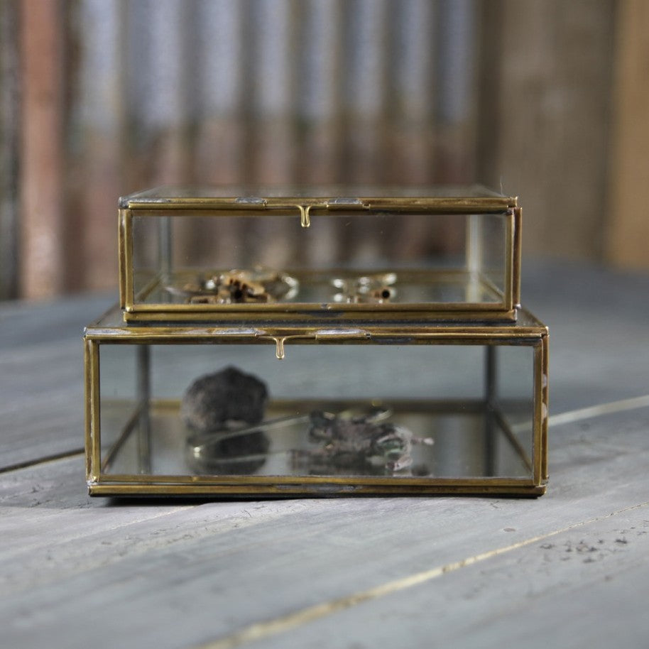 Antique Brass & Glass Box | Design Vintage