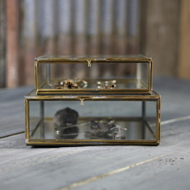 Antique Brass & Glass Box
