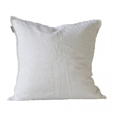 50cm White Linen Cushion