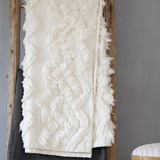 Boho White Fringed Throw