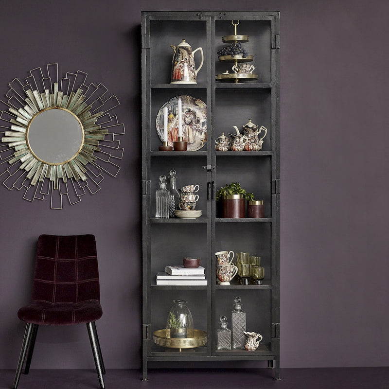 Tall Glass & Iron Cabinet | Design Vintage
