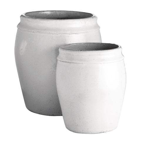 XL White Glazed Ceramic Planter