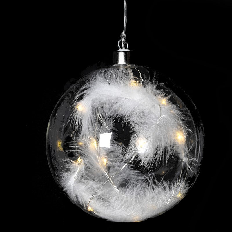 White Feather Lit Bauble | Design Vintage