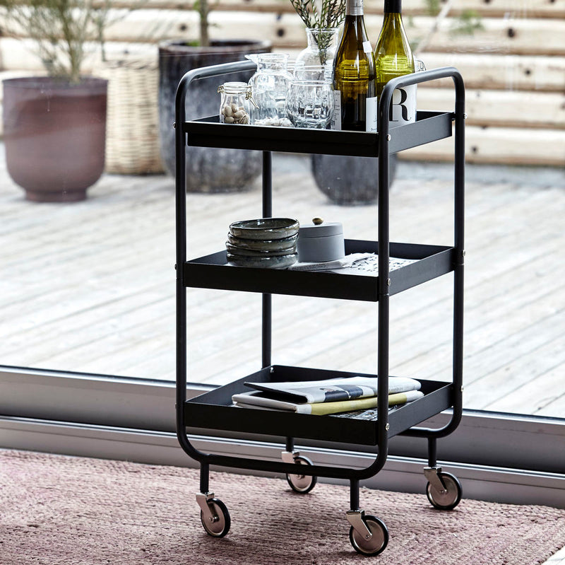 Matt Black Steel Trolley on Wheels | Design Vintage