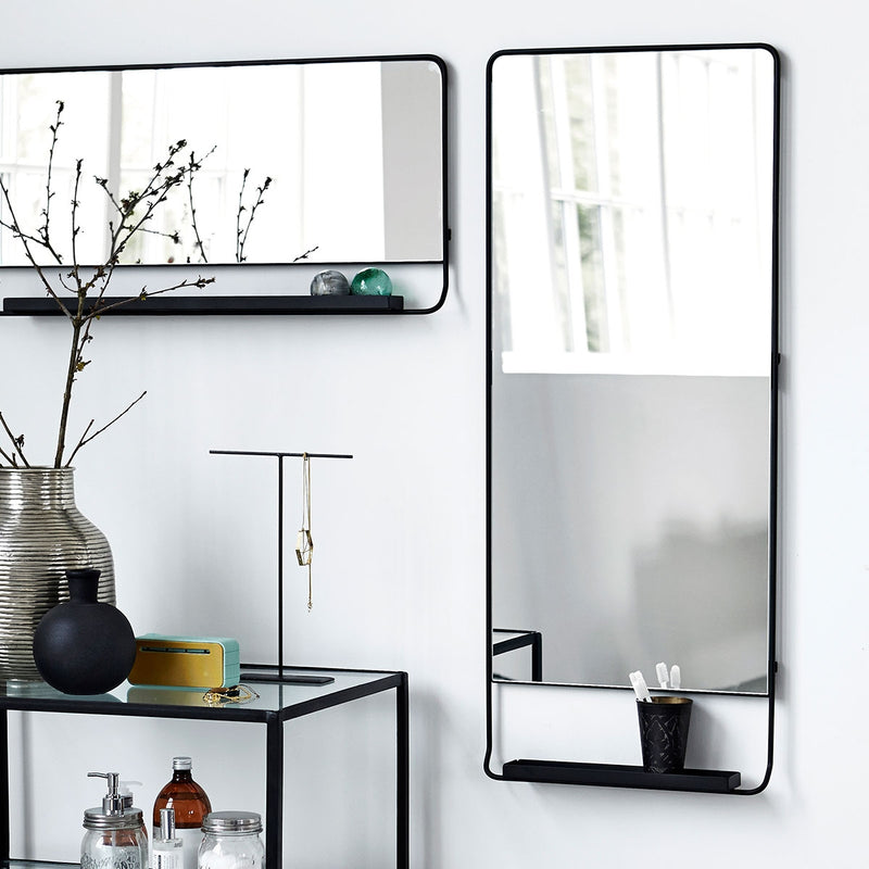 Black Iron Shelf Mirror