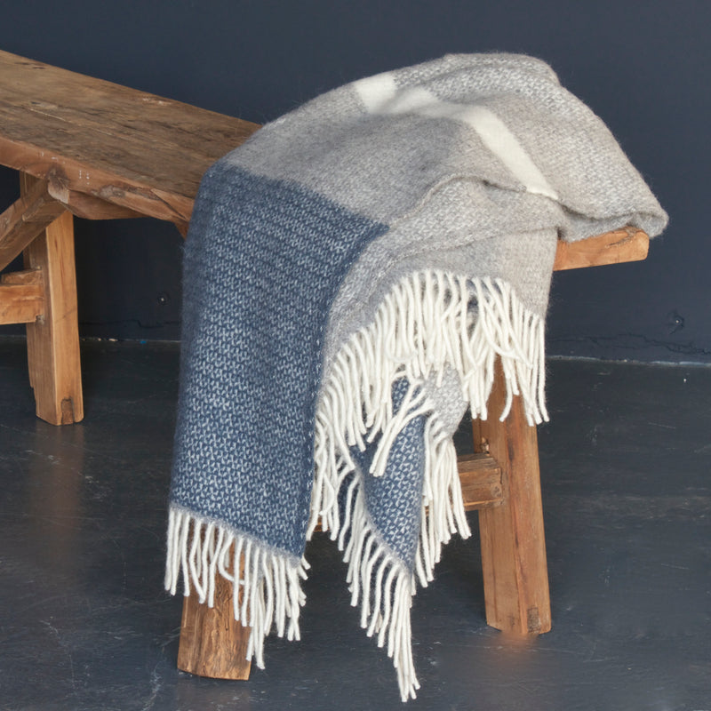 Denim Panel Lambswool Throw