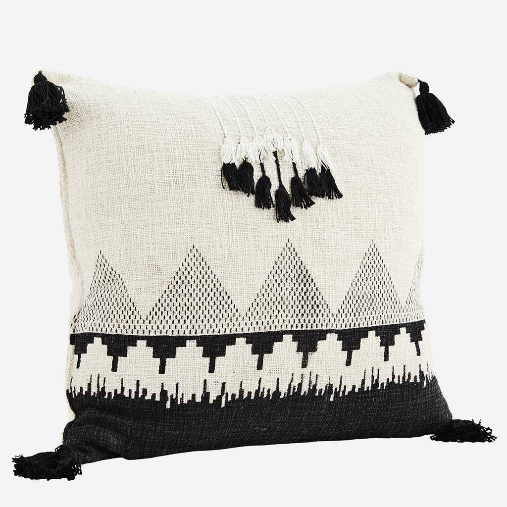 White Printed Tassel Cushion