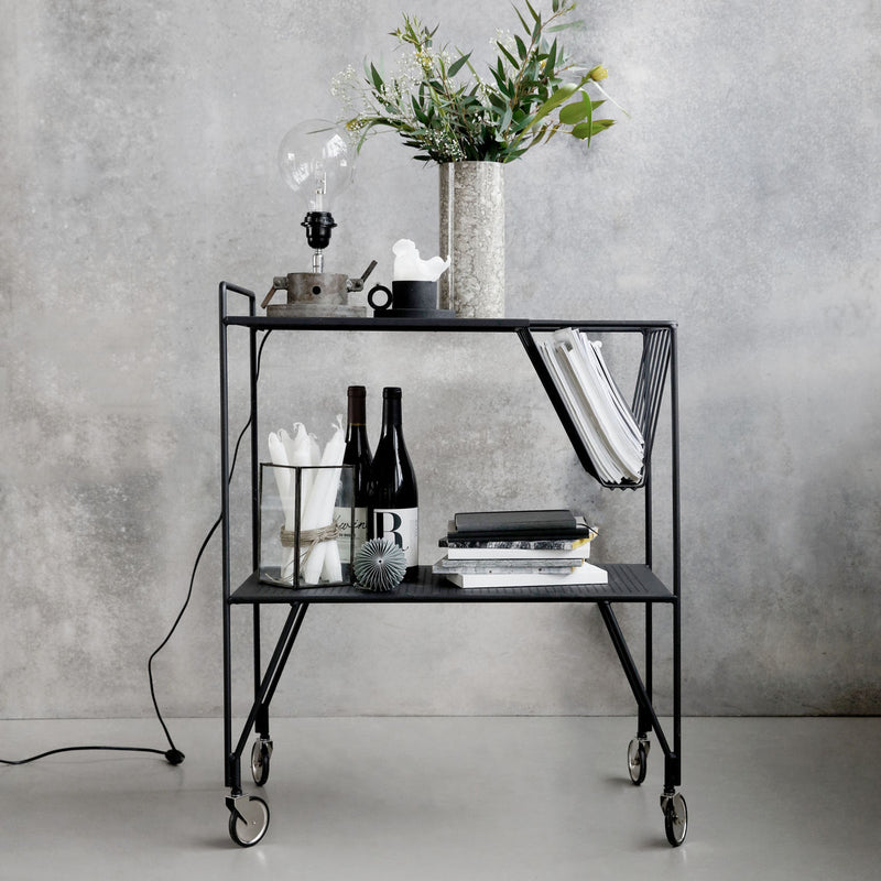 Large Black Magazine Trolley