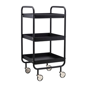Matt Black Steel Trolley on Wheels