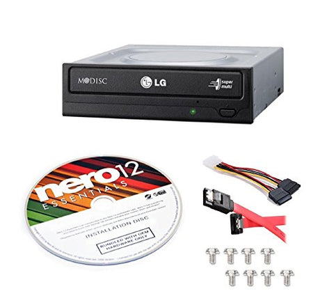 LG Internal 24x Super Multi with M-DISCSupport DVD Burner (GH24NSC0B) Bundle with Nero 12 Essentials Burning Software + Cable Kit