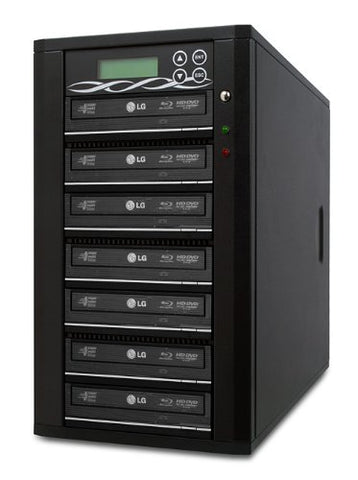 Bestduplicator M-Series (High Performance) - 7 Target 24X SATA Blu-Ray DVD CD Duplicator (Standalone Audio Video Copy Tower, Duplication Device) - 1 to 7 Blu-Ray/DVD/CD Duplicator