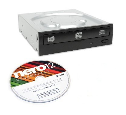 Lite-On Super AllWrite 24X SATA DVD+/-RW Dual Layer Drive IHAS124-04 (Black) Bulk + Nero Multimedia Suite 12 Essentials CD/DVD Burning Software