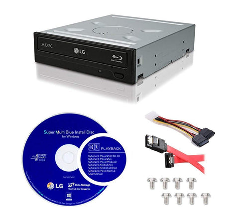 LG WH14NS40-KIT Super Multi Blue Internal 14x Blu-ray Disc Re-Writer Bundle + LG CyberLink Burning Software + Installation Cables Kit