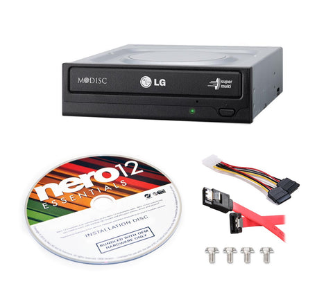 LG Electronics Optical DVD Drive GH24NSB0B-KIT + Nero 12 Essentials Burning Software + Sata Cable Kit