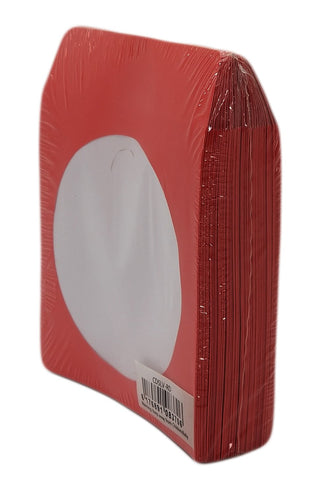 BestDuplicator Red Cd/DVD Paper Media Sleeves Envelopes with Flap and Clear Window (100 Sleeves)