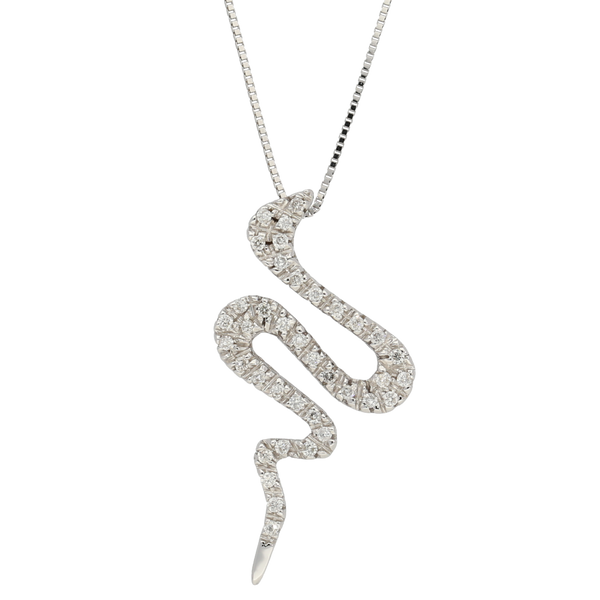 Pendente in oro bianco serpente con diamanti ct. 0,20