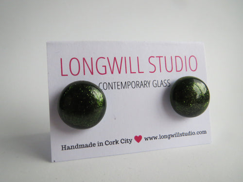 Aventurine Green Sparkly Stud Earrings