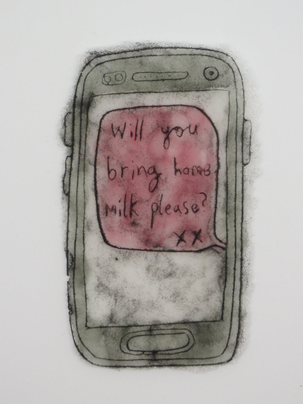 Bring Home Milk Please in Pink - Modern Love Letter in Glass
