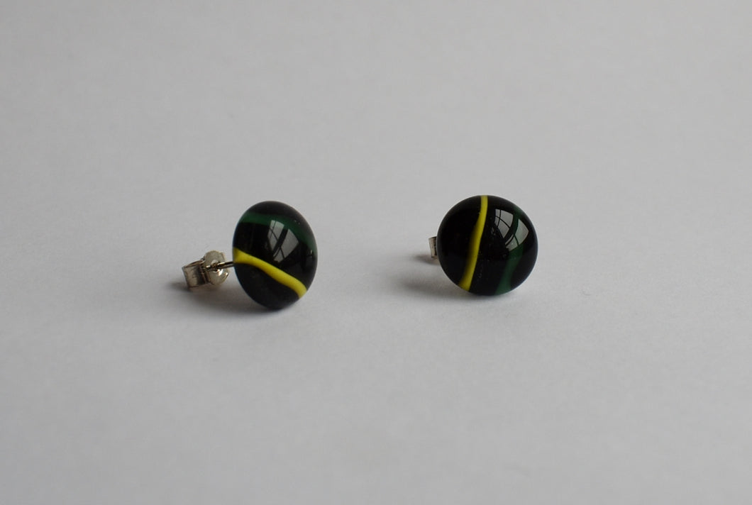 Yellow and Green Stripe Stud Earrings
