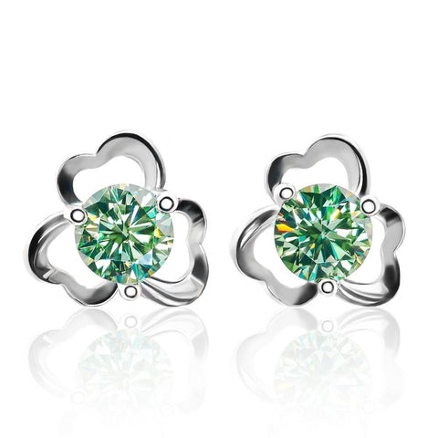Moissanite Green Round Cut Diamond Earrings