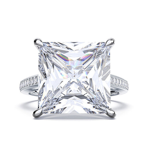 Square Moissanite Diamonds Gemstone Ring