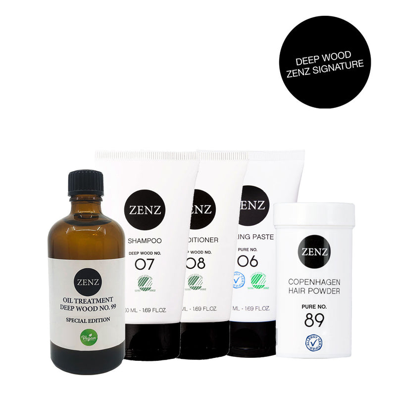 ZENZ Signature Deep Wood: Shampoo no. 07 + Conditioner no. 08 +  Oil treatment no. 99 (100 ml) + Styling Paste no. 06  + Hair Powder no. 89