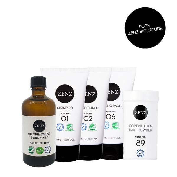 ZENZ Signature Pure: Shampoo no. 01 + Conditioner no. 02 + Oil treatment no. 97 (100 ml) + Styling Paste no. 06 +  Hair Powder no. 89