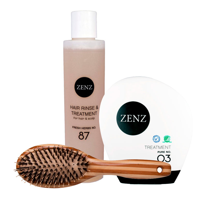 Shine Booster - Hair Brush Paddle Combo + Hair Rinse no. 87 + Hair Treatment no. 03