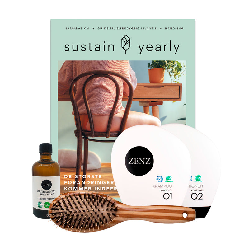 Sustain Daily - Valgfri Shampoo + Conditioner, Special Edition Oil Treatment Pure no. 97, Paddle Brush Combo, samt Magasinet Sustain Yearly.