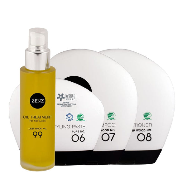 For Him No. 01: Deep Wood Shampoo + Conditioner + Styling Paste no. 06 + Valgfri Treatment Oil