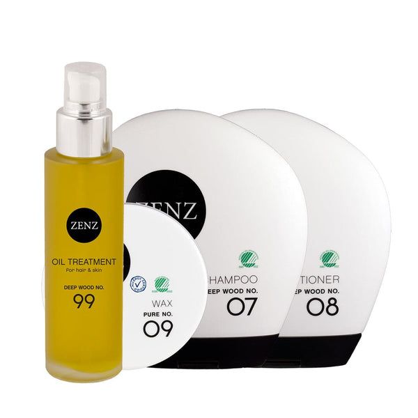 For Him No. 02: Deep Wood Shampoo + Conditioner + Wax no. 09 + Valgfri Treatment Oil
