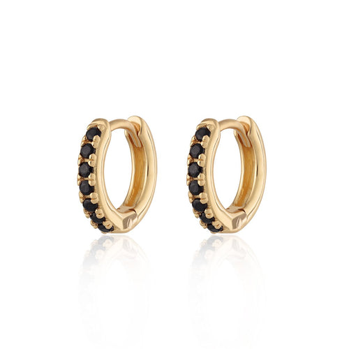 SP Huggie Hoop Earrings with Black Stones - Gold