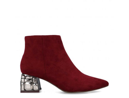 Menbur Embellished Heel Boot - Burgundy