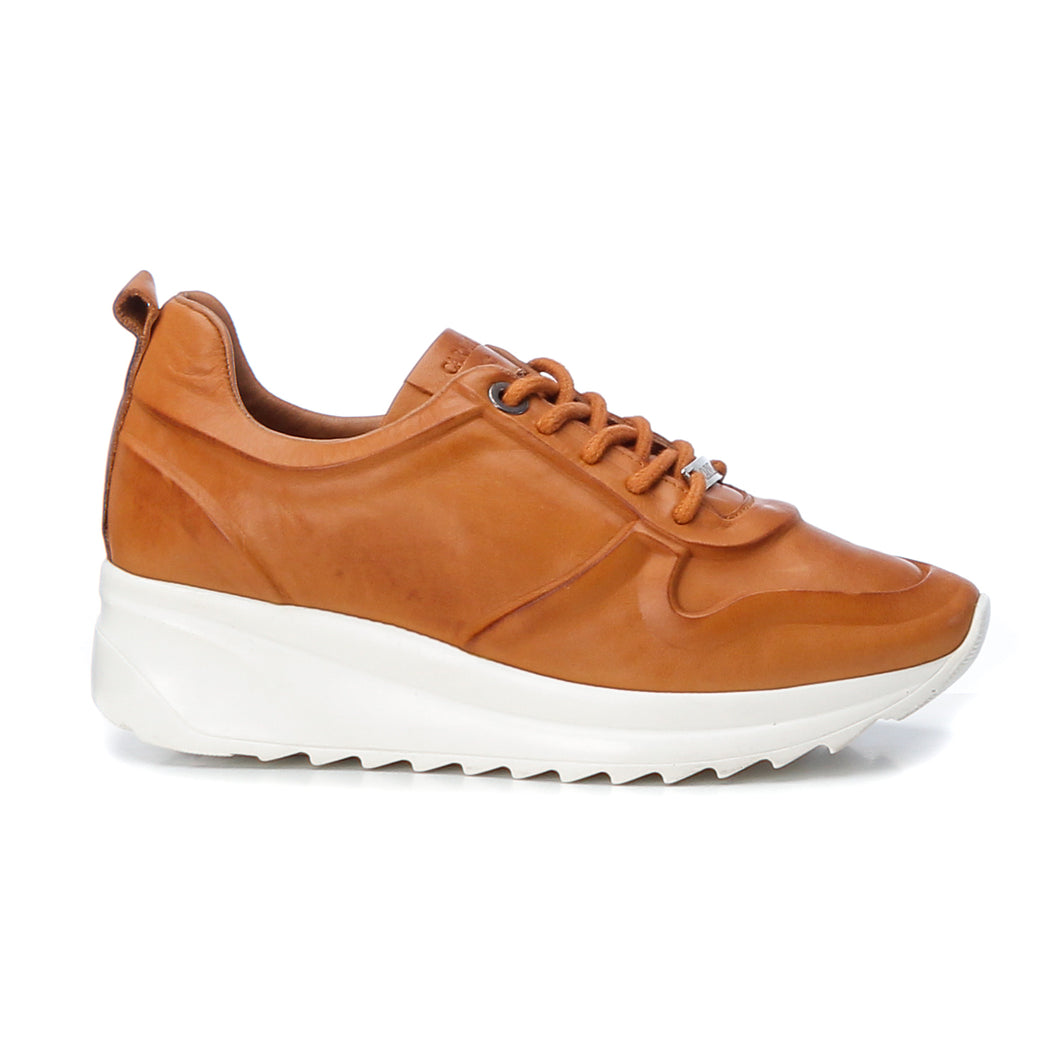 Carmela Leather Trainers - Camel