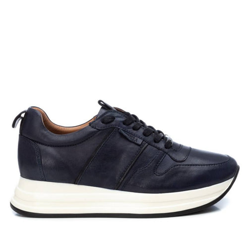 Carmela Leather Trainers Navy