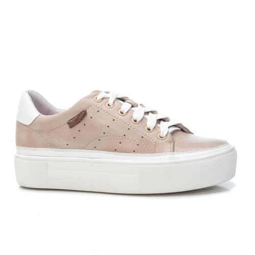 Carmela Leather Trainers - Beige
