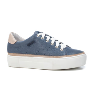Carmela Leather Trainers - Jeans Blue