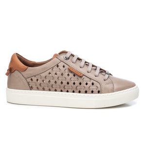 Carmela Leather Laser Cut Trainers - Ice