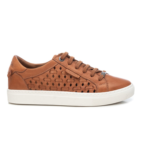 Carmela Leather Laser Cut Trainers - Camel