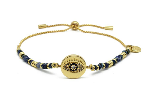 Boho Betty Bazooka Navy & Gold Bead Evil Eye Charm Bracelet