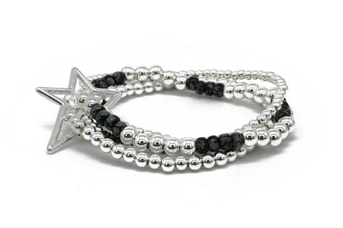 Boho Betty Slide 4 Layered Silver & Black Bracelet Stack with Star Fastener