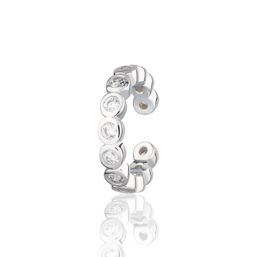 SP Bezel Single Ear Cuff with Clear Stones - Sterling Silver