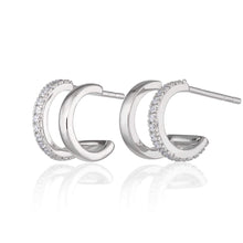 Load image into Gallery viewer, SP Double Huggie Hoop Stud Earrings