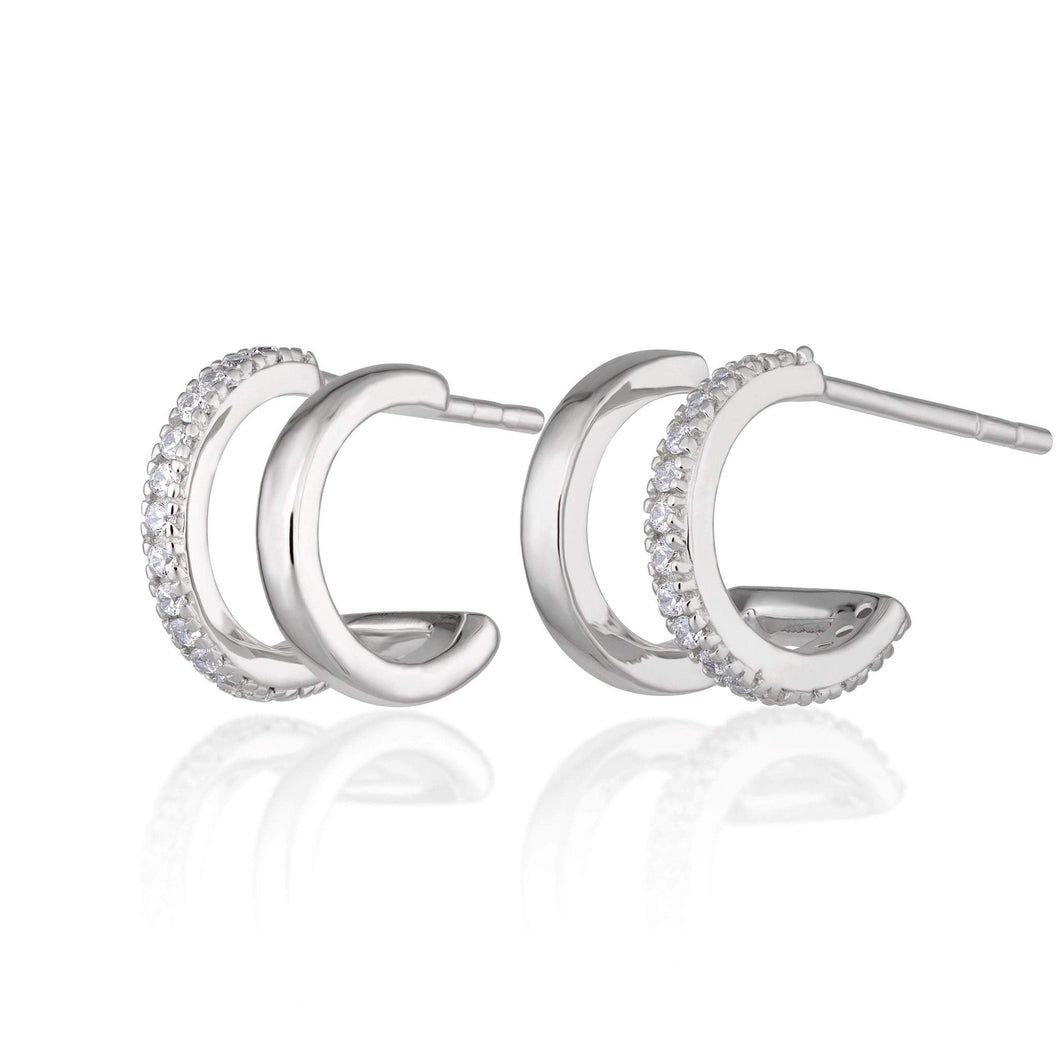 SP Double Huggie Hoop Stud Earrings
