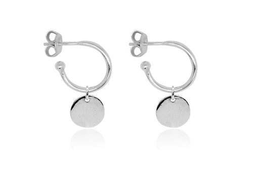 Boho Betty Garo Silveerc Charm Hoop Earrings