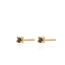 Load image into Gallery viewer, SP Teeny Tiny Studs Gold with Black Stones